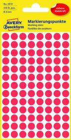 Etykiety oznaczeniowe Avery Zweckform, okrągłe, średnica 8mm, 416 sztuk, czerwony