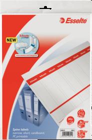 Etykiety do segregatorów Esselte, wąskie, 29x158mm, 80 sztuk, biały