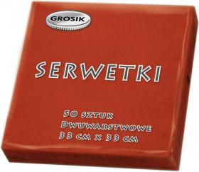 Serwetki stołowe Grosik, 33x33cm, dwuwarstwowe, 50 sztuk, czerwony