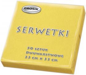 Serwetki stołowe Grosik, 33x33cm, 50 sztuk, żółty