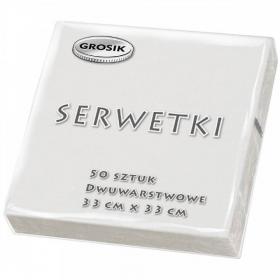 Serwetki stołowe Grosik, 33x33cm, 50 sztuk, biały
