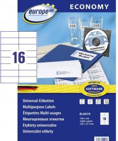 Etykiety uniwersalne Economy Europe100, 105x37mm, 100 arkuszy, biały