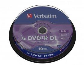 Płyta DVD+R dwustronna Verbatim, do jednokrotnego zapisu, 8.5GB, cake box, 10 sztuk