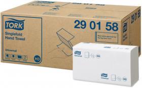 Ręcznik papierowy Tork 290158 Universal, jednowarstwowy, w składce ZZ, 300 składek, biały