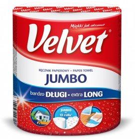Ręcznik papierowy Velvet Jumbo, 2-warstwowy, 104m, w roli, 1 rolka, biały