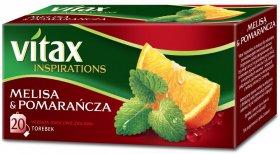 Herbata owocowa w torebkach Vitax Inspirations, melisa i pomarańcza, 20 sztuk x 1.65g