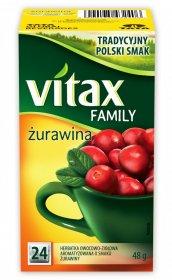 Herbata owocowa w torebkach Vitax Family, żurawina, 24 sztuki x 2g
