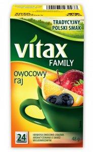 Herbata owocowa w torebkach Vitax Family, owocowy raj, 24 sztuki x 2g