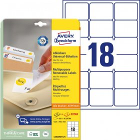 Etykiety uniwersalne usuwalne Avery Zweckform, 63.5x46.6mm, 25 arkuszy+5 gratis, biały