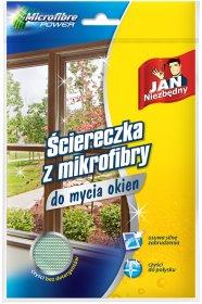 Ściereczka do mycia okien Jan Niezbędny, mikrofibra, 40x40cm, 1 sztuka, zielony