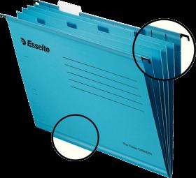 Teczka zawieszana kartonowa Esselte Classic, z przekładkami, A4, 330x245mm, 210g/m2, niebieski