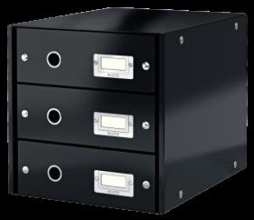 Pojemnik Leitz Click&Store Wow, z 3 szufladami, do dokumentów, A4 czarny