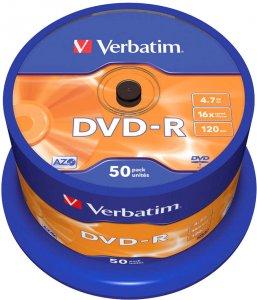 Płyta DVD-R Verbatim, do jednokrotnego zapisu, 4.7 GB, cake box, 50 sztuk