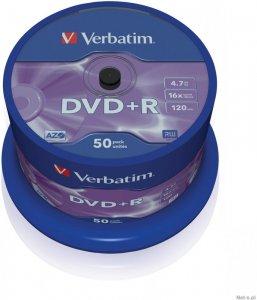 Płyta DVD+R Verbatim, do jednokrotnego zapisu, 4.7 GB, cake box, 50 sztuk