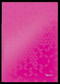 Zeszyt w kratkę Leitz Wow, A4, twarda oprawa, 80 kartek, różowy