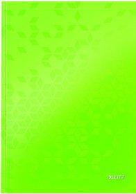 Zeszyt w kratkę Leitz Wow, A4, twarda oprawa, 80 kartek, zielony