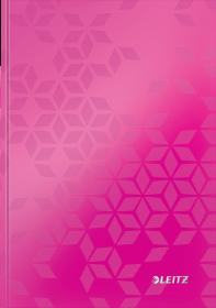 Zeszyt w kratkę Leitz Wow, A5, twarda oprawa, 80 kartek, różowy