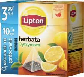 Herbata czarna smakowa w piramidkach Lipton, cytrynowa, 10 sztuk x 2g