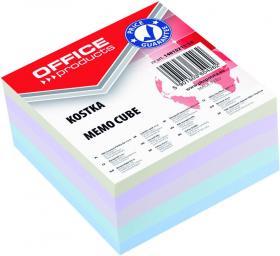 Kostka do notowania Office Products, klejona, 85x85x40mm, 400 kartek, mix kolorów pastelowych