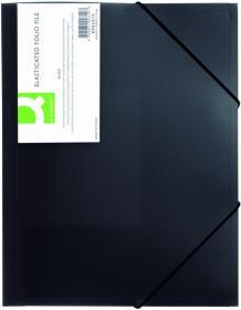 Teczka z gumką Q-connect, A4, plastikowa,  3-skrzydłowa, czarny