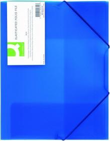 Teczka z gumką Q-connect, A4, plastikowa, 3-skrzydłowa, niebieski