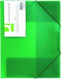Teczka plastikowa z gumką Q-connect, 3-skrzydłowa, A4, zielony