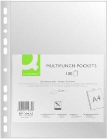 Koszulki groszkowe Q-Connect, A4, 40 µm, 100 sztuk, transparentny