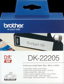 Taśma do drukarki Brother DK 22205, 62mmx30.48m, biały/czarny nadruk