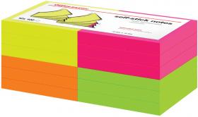 Notes samoprzylepny Office Depot, 76x76mm, 12x100 karteczek, mix kolorów neonowych