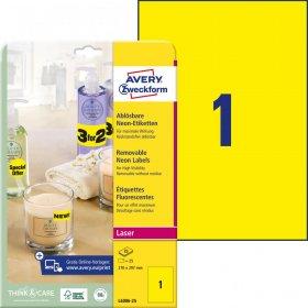 Etykiety odblaskowe Avery Zweckform, 210x297mm, 25 arkuszy, żółty