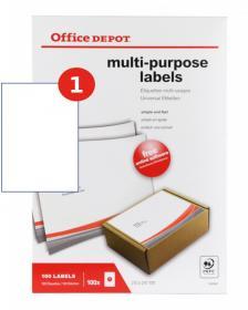 Etykiety uniwersalne Office Depot, 297x210mm, 100 arkuszy, biały
