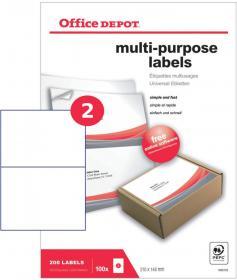 Etykiety uniwersalne Office Depot, 210x148.5mm, 100 arkuszy, biały