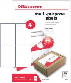 Etykiety uniwersalne Office Depot, 148.5x105mm, 100 arkuszy, biały