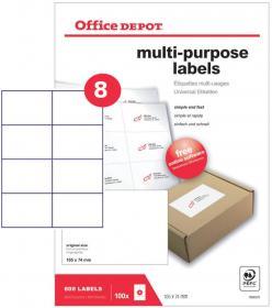 Etykiety uniwersalne Office Depot, 105x74.25mm, 100 arkuszy, biały