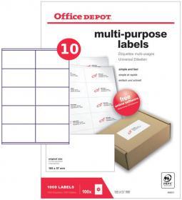 Etykiety uniwersalne Office Depot, 105x57mm, 100 arkuszy, biały