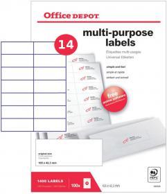Etykiety uniwersalne Office Depot, 105x42.43mm, 100 arkuszy, biały