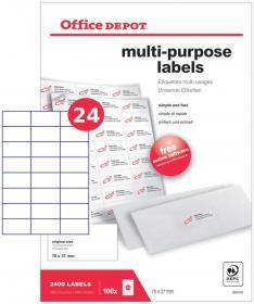 Etykiety uniwersalne Office Depot, 70x37mm, 100 arkuszy, biały