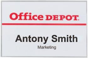 Identyfikator Office Depot, z klipsem i agrafką, 90x60mm, przezroczysty