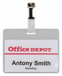 Identyfikator Office Depot, z klipsem, 90x60mm, przezroczysty