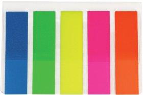 Zakładki samoprzylepne Office Depot proste, indeksujące, folia, transparentne, 45x12mm, 5x25 sztuk, mix kolorów