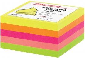 Notes samoprzylepny Office Depot, 76x76mm, 400 karteczek, mix neonowy