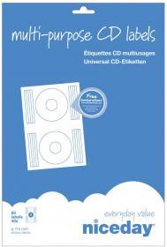 Etykiety na CD Niceday, 114 mm, 40 arkuszy, biały