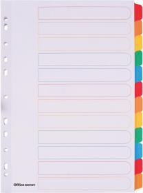 Przekładki kartonowe gładkie z kolorowymi indeksami Office Depot Mylar, A4, 12 kart, biały