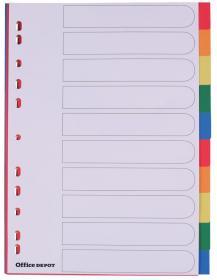 Przekładki plastikowe gładkie z kolorowymi indeksami Office Depot, A4, 10 kart, biały
