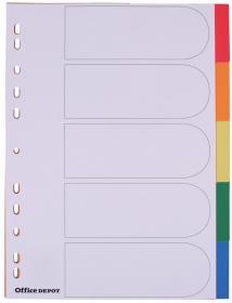 Przekładki plastikowe gładkie z kolorowymi indeksami Office Depot, A4, 5 kart, biały