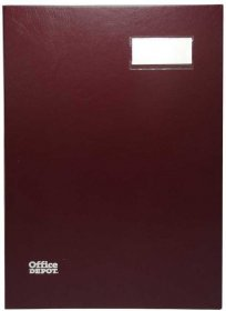 Teczka do podpisu Office Depot, A4, 20 kartek, bordowy