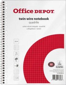 Kołonotatnik Office Depot, A4, w kratkę, 80 kartek, biało-czerwony