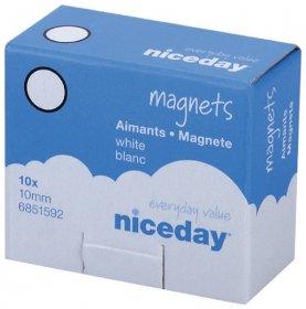 Magnesy Niceday, 10mm, 10 sztuk, biały