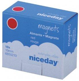 Magnesy Niceday, 10mm, 10 sztuk, czerwony