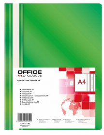 Skoroszyt plastikowy bez oczek Office Products, A4, do 200 kartek, zielony
